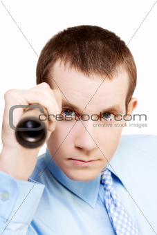 Market research business man on white background