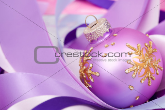 Christmas ball on ribbons