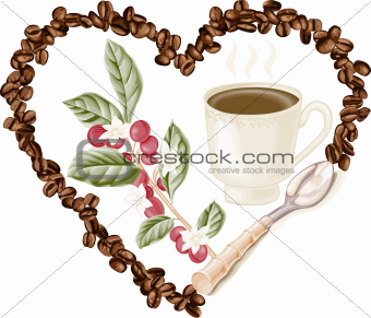 Cup coffee and coffee beans inside in heart