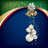 Abstract background with Christmas decorations and handbells