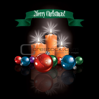 Abstract Christmas greeting with decorations and candles