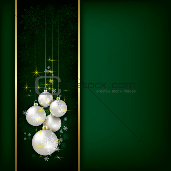 Abstract background with Christmas decorations and snowflakes