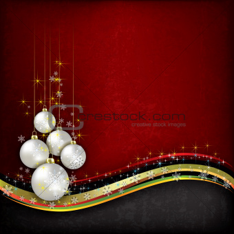 Abstract grunge background with pearl Christmas decorations on r