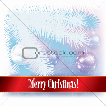 Abstract winter background with white Christmas tree and decorat