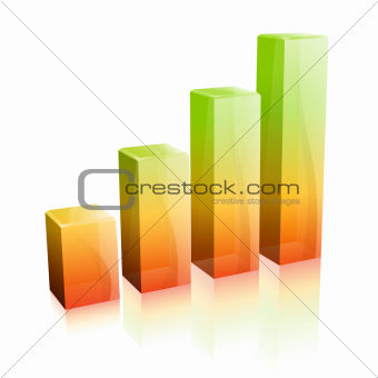3d Glass Graph. Concept - Success in Business