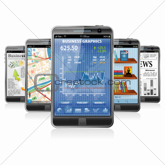 Smartphones with various Applications