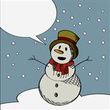 Happy snowman text card