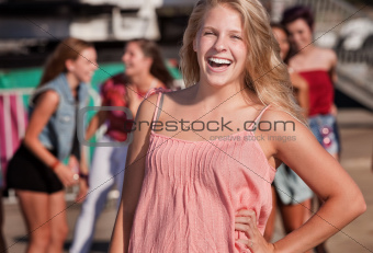 Blond Teenage Girl Laughing
