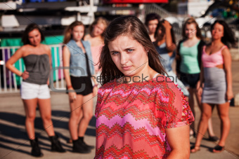 Skeptical Teenage Girl at Carnival