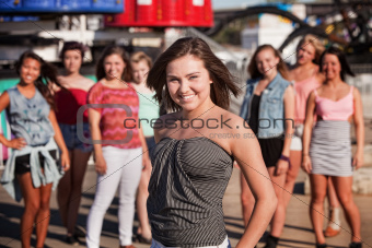 Teen Girls at Theme Park