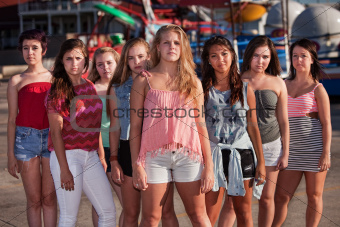 Serious Group of Girls at Park