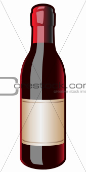 Vintage Wine Bottle Blank Label Vector Illustration