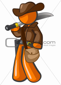 Orange Man Adventurer with Machete