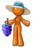 Orange lady holding large bunch of grapes