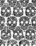 Black and white seamless pattern with skulls