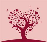 Vector illustration of heart tree pic