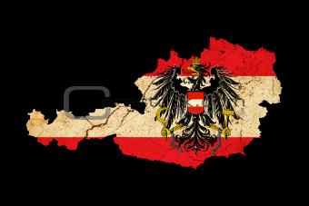 Austria grunge map outline with flag