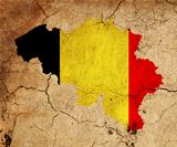 Belgium grunge map outline with flag