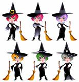 Set of funny witches