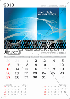 January 2013 A3 calendar