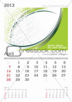 April 2013 A3 calendar
