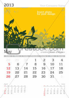 May 2013 A3 calendar