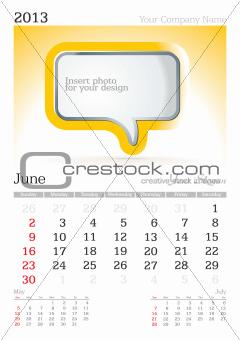 June 2013 A3 calendar