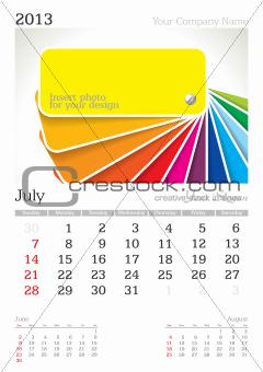 July 2013 A3 calendar