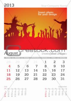 August 2013 A3 calendar