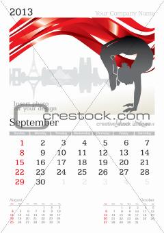 September 2013 A3 calendar