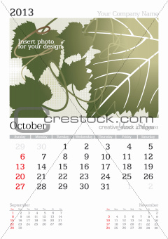 October 2013 A3 calendar
