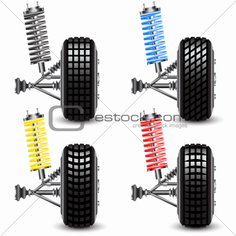 Set front car suspension, frontal view. Vector Illustration