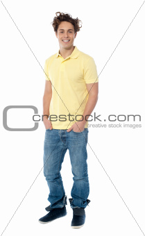 Full length image of a casual young man