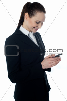 Corporate lady reading sms