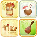 Hawaiian icons set