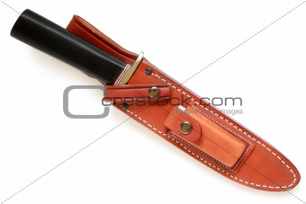 Hunting knife in leather sheath