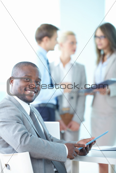 Business leader with touchpad