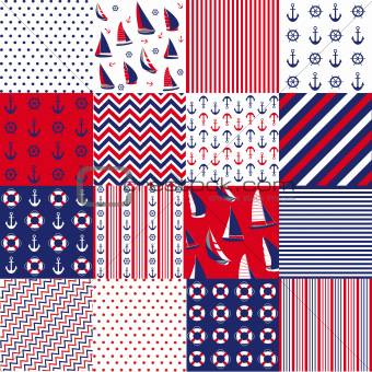 Seamless pattern with nautical elements