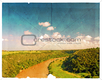 Landscape of river and cloudy sky.