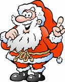 Hand-drawn Vector illustration of an Happy Santa Pointing