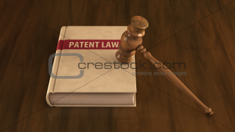 Patent law book with gavel on it
