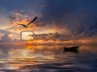 Seascape with boat and birds