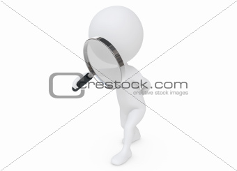 3d humanoid character with a magnifier