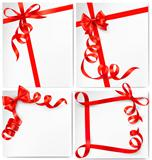 Set of holiday background with red gift bow with red ribbons. Vector