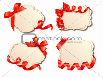 Set of old cards with red gift bows with ribbons Vector