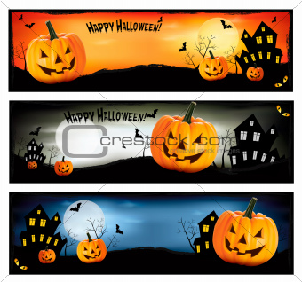 Three Halloween banners  Vector