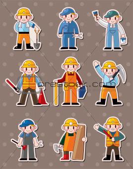 cartoon worker stickers
