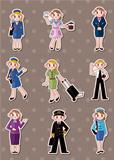 cartoon flight attendant/pilot stickers