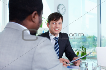 Businessman at attention