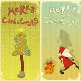 Retro Set of Christmas card